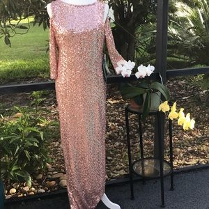 Dresses & Skirts - NWT Blu Sage Sequin Gown Rose Gold